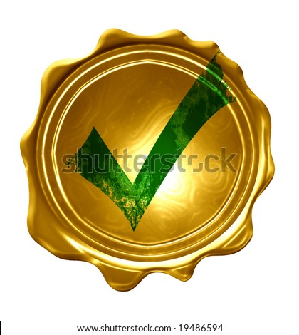 gold medal with a green approved tick on it