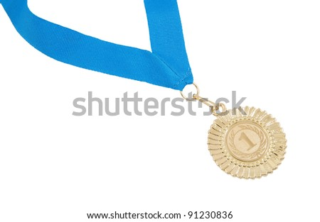 Gold medal with blue ribbon isolated on white