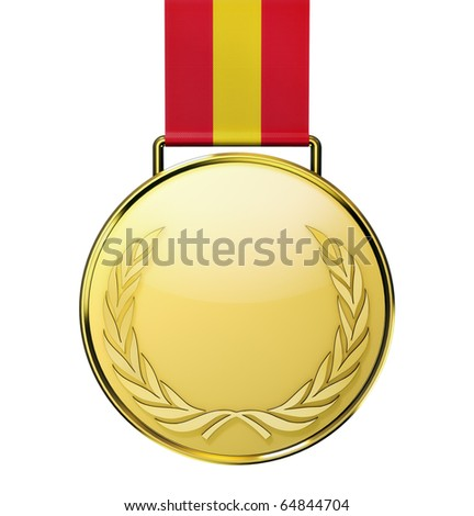 Gold medal with laurel (3d illustration)