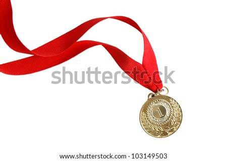 Gold medal with nice long red ribbon on white background. Isolated with clipping path
