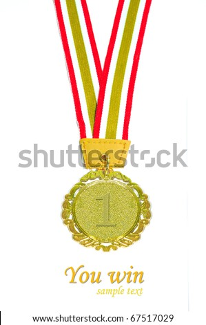 Gold medal with red and yellow ribbon