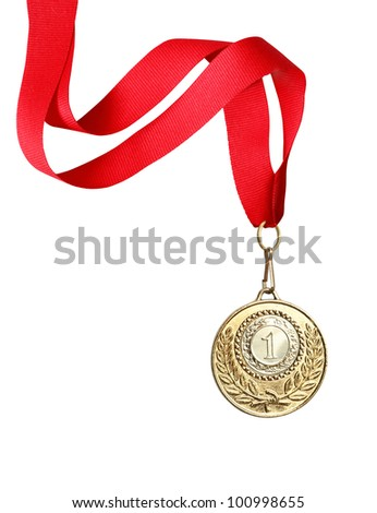 Gold medal with red ribbon on white background. Clipping path is included