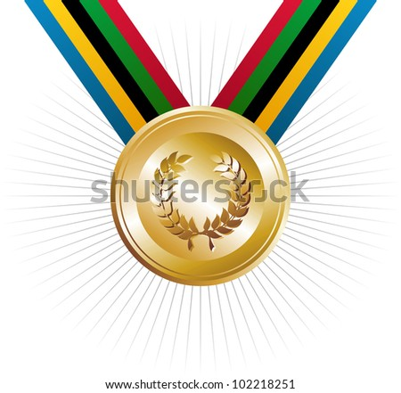 Gold medal with ribbon. Vector file layered for easy manipulation and customisation.