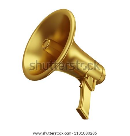 Gold Megaphone Isolated on White Background. Portable Golden Bullhorn Render. 3D Illustration.