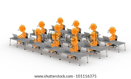 Gold men with headsets and computers. Call center, tele marketing, IT service etc conepts - stock photo