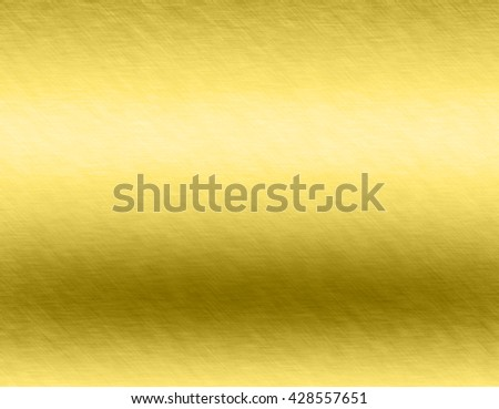 Gold metal brushed background or texture of brushed steel plate with reflections Iron plate and shiny #428557651