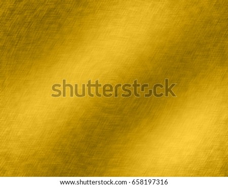 Gold metal brushed background or texture of brushed steel plate with reflections Iron plate and shiny #658197316