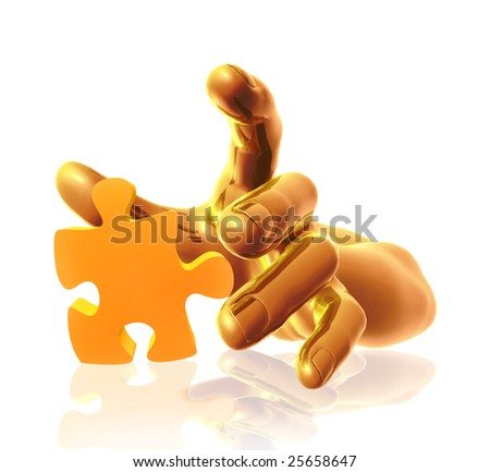 Gold metal hands playing the puzzle piece as problem solution