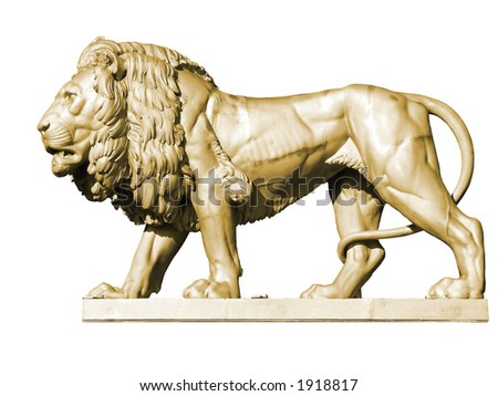 Gold metal lion statue, isolated