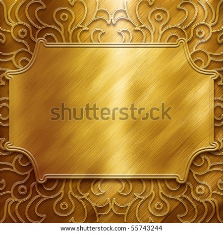 Gold metal plate with classic ornament (big collection)