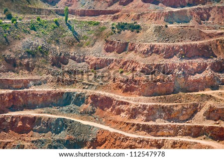 Gold mine open caste. Background of industrial landscape on the open pit. Opencast textured land.