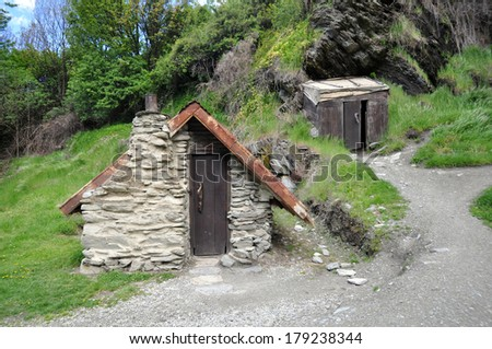 Gold miners hut in the Chinese Settlement,  Arrowtown, New Zealand