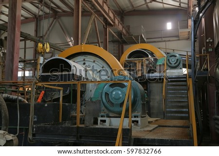 Gold mining. Industrial factory. Equipment