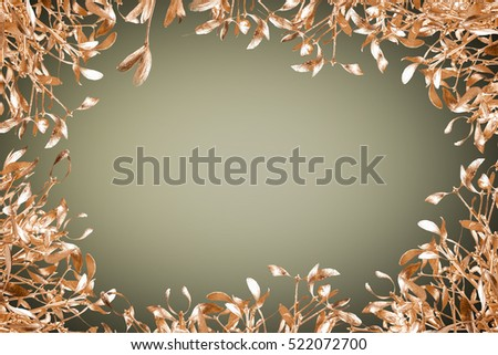 gold mistletoe on christmas background #522072700