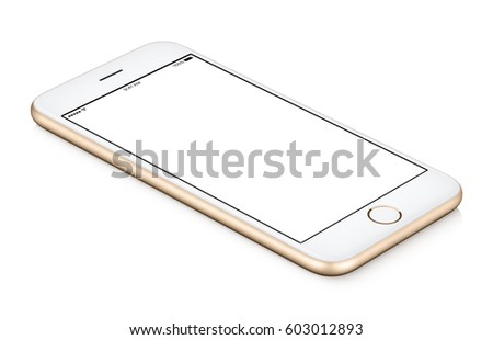 Gold mobile smart phone mock up CCW rotated lies on the surface with blank screen isolated on white background. You can use this smartphone mock-up for your web project or design presentation