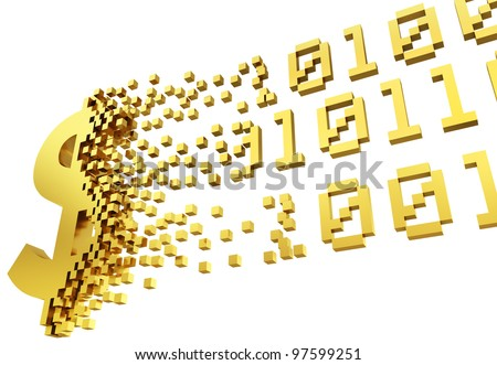 gold money symbol converting into the shapes of binary code representing electronic money.