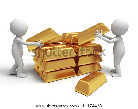 Gold/money/two people are carrying  some gold bricks - stock photo