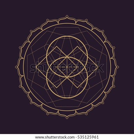 gold monochrome design abstract mandala sacred geometry illustration squares circles isolated dark brown background