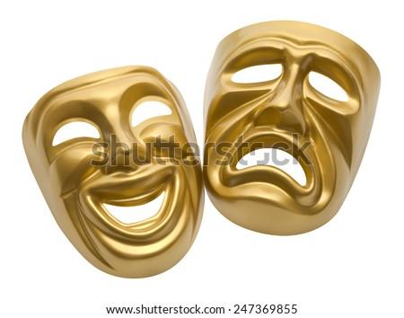 Gold Movie Masks Isolated on White Background.