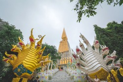 Gold Naga and White Naga has 9 head stay in the front of the stair for go to the Gold Pagoda in the center at Wat Pa Phu Thap Boek, Phetchabun, Thailand