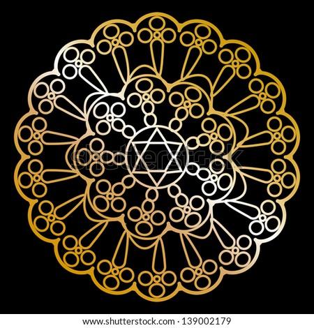gold napkin on black