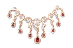 gold necklace with rubies