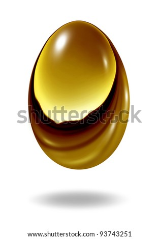 Gold nest egg on a white background as a retirement savings fund investment symbol showing the golden financial business concept of wealth and making money for a rainy day fund as an investment.