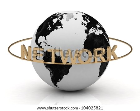 Gold NETWORK and gold ring, abstraction of the inscription around the earth on a white background