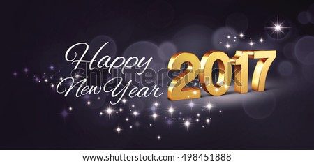 Gold 2017 New year type and greetings on a glittering black background - 3D illustration #498451888