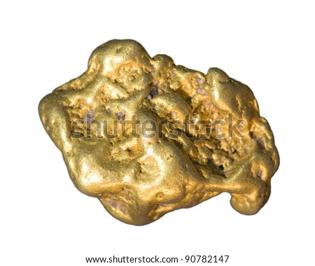 Gold nugget isolated on white.