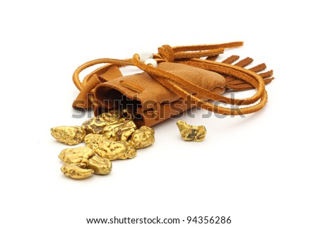 gold nuggets in a leather pouch