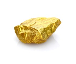 Gold nuggets natural on a white background.