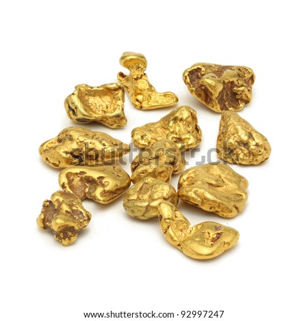 Gold nuggets white background