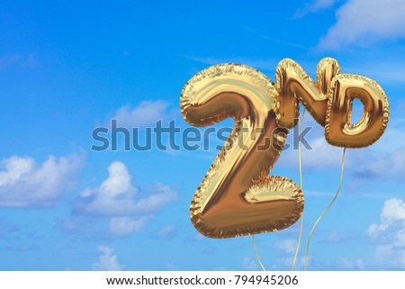 Gold number 2 foil birthday balloon against a bright blue summer sky. Golden party celebration. 3D Rendering