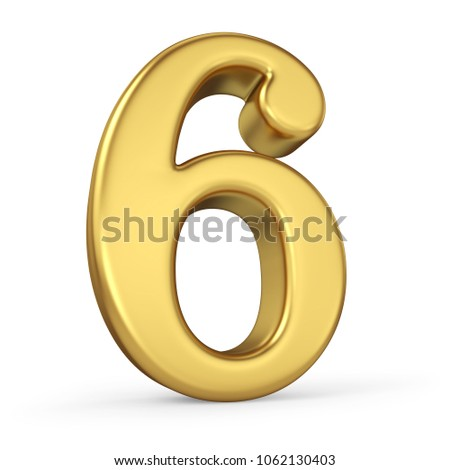 Gold Number 6 Isolated on White Background. Figure Six. 3D Illustration. Golden Alphabet Collection.