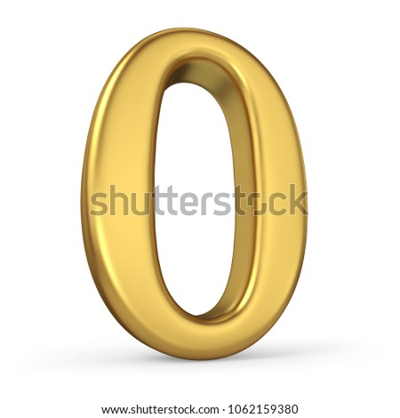 Gold Number 0 Isolated on White Background. Figure Zero. 3D Illustration. Golden Alphabet Collection.