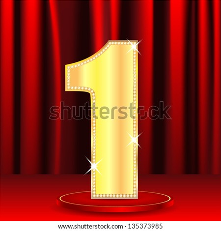 gold number one decorated by brilliant stones on a background a red curtain.raster copy of vector file