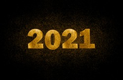 Gold numbers 2021 on black background with scattered sparkles. Horizontal New Year banner
