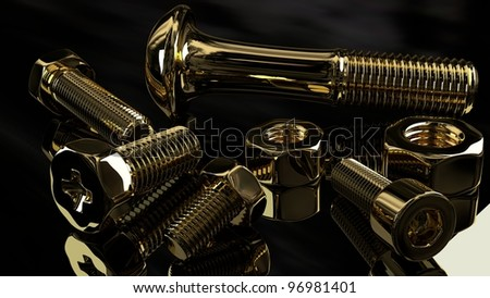 gold nuts and bolts on glossy background