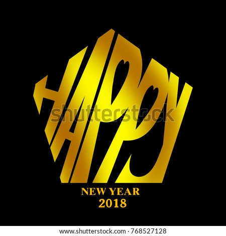 Gold of happy new year typography design with black background