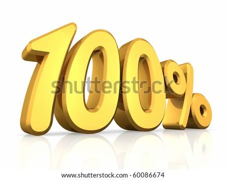 Gold one hundred percent, isolated on white background. 100%