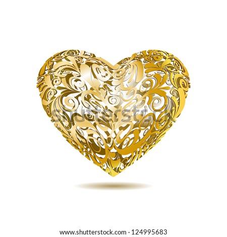 Gold Openwork Floral Heart