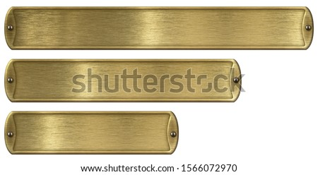 Gold or brass brushed metal plates set isolated