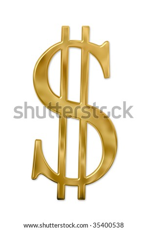 Gold or golden dollar sign. Isolated on white. Clipping path included.