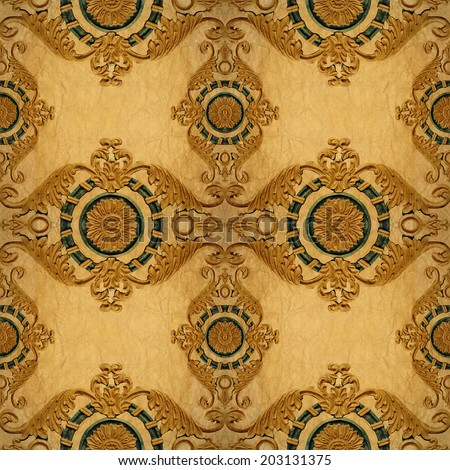 Gold ornament flower vintage pattern in old paper background