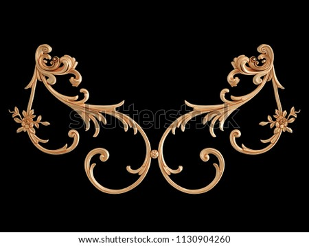 Gold ornament on a black background. Isolated. 3D illustration