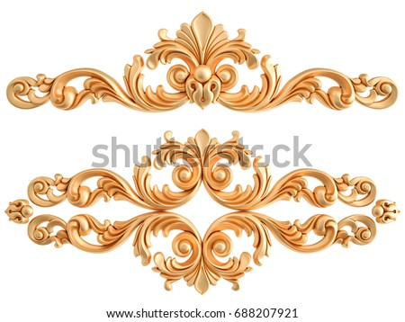gold ornament on a white...