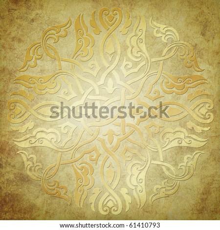 gold ornament on grunge background