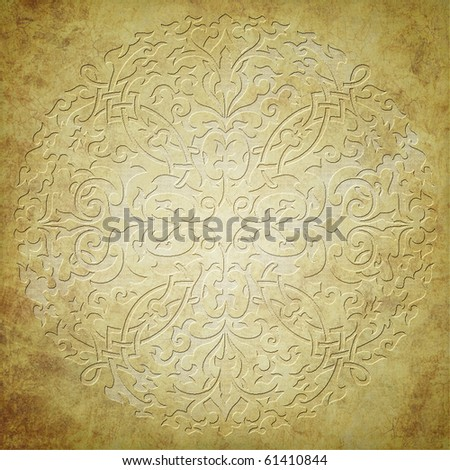 gold ornament on grunge background - stock photo