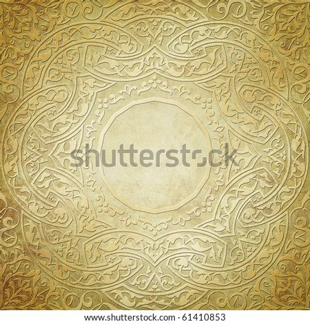 gold ornament on grunge background with place